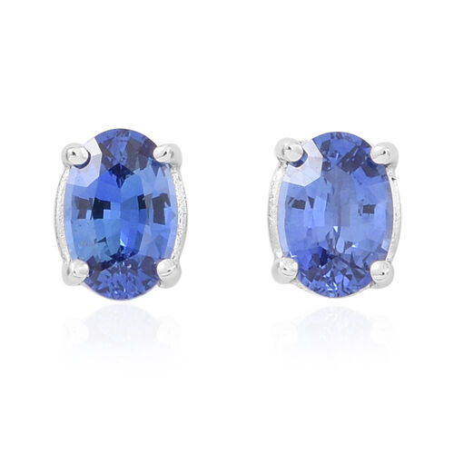 ILIANA 18K White Gold AAA Ceylon Sapphire (Ovl) Stud Earrings (with Screw Back) 1.250 Ct.