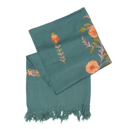 100% Merino Wool Dark Green, Orange and Multi Colour Floral and Leaves Embroidered Scarf with Tassels (Size 190X70 Cm)