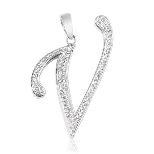ELANZA AAA Simulated White Diamond V Initial Pendant in Platinum Overlay Sterling Silver