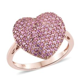 Red Carpet Collection Colour of Pink Sapphire (Rnd) Heart Ring in Rose Gold Overlay Sterling Silver 2.560 Ct. Number of Gemstones 139pcs