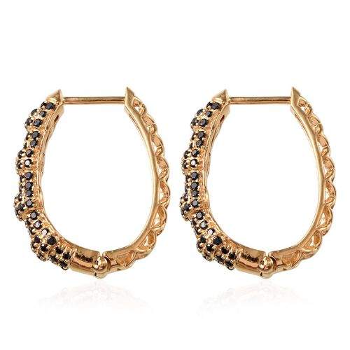 Boi Ploi Black Spinel (Rnd) Hoop Earrings (with Clasp) in 14K Gold Overlay Sterling Silver 2.000 Ct.