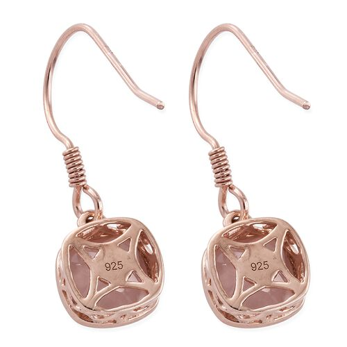 One Time Deal-Rose Quartz (Cush) Hook Earrings in Rose Gold Overlay Sterling Silver 5.000 Ct.