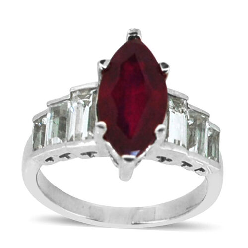 African Ruby (Mrq 3.45 Ct), White Topaz Ring in Rhodium Plated Sterling Silver 5.250 Ct.