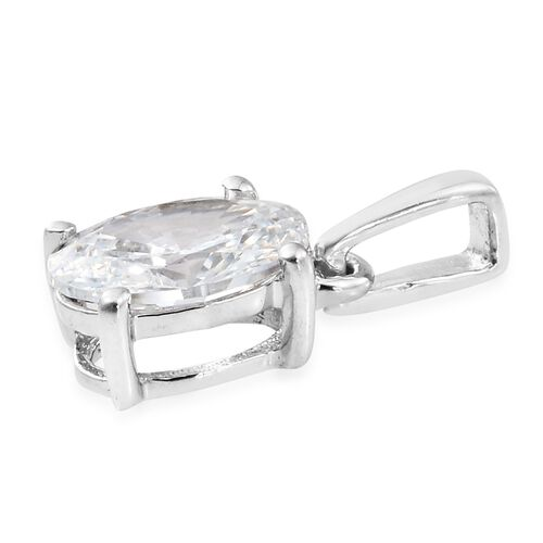 J Francis - 9K White Gold (Ovl) Solitaire Pendant Made with SWAROVSKI ZIRCONIA