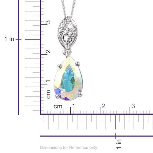 Mercury Mystic Topaz (Pear) Solitaire Pendant With Chain in Platinum Overlay Sterling Silver 4.400 Ct.