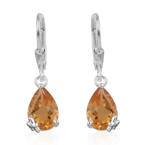 Citrine (Pear) Earrings in Sterling Silver 3.500 Ct.