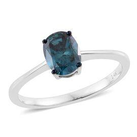 14K White Gold 1 Carat Blue Diamond (Ovl) (I2) Solitaire Ring