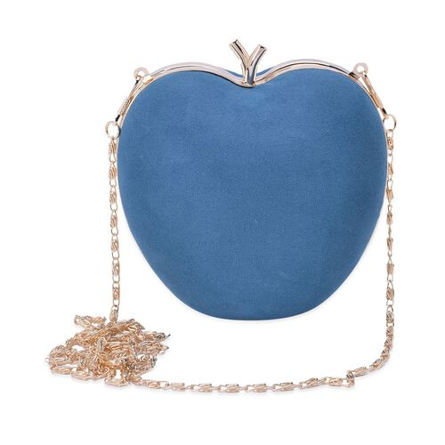 Amour Velvet Teal Colour Apple Clutch With Removable Golden Chain (Size 58x13x12.5 Cm)