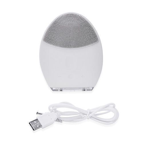White Colour Silicone Face Cleansing Brush (Size 10x8 Cm)