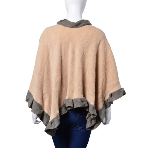Khaki and Grey Colour Poncho (Size 100x50 Cm)