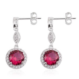 Brilliant Cut ELANZA AAA Simulated Ruby (Rnd), Simulated Diamond Earrings (with Push Back) in Rhodium Plated Sterling Silver