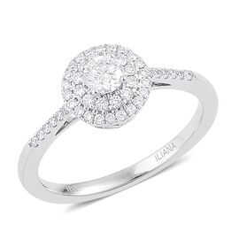 ILIANA 18K White Gold 0.50 Carat IGI Certified Diamond (SI/G-H) Ring, IGI Certified