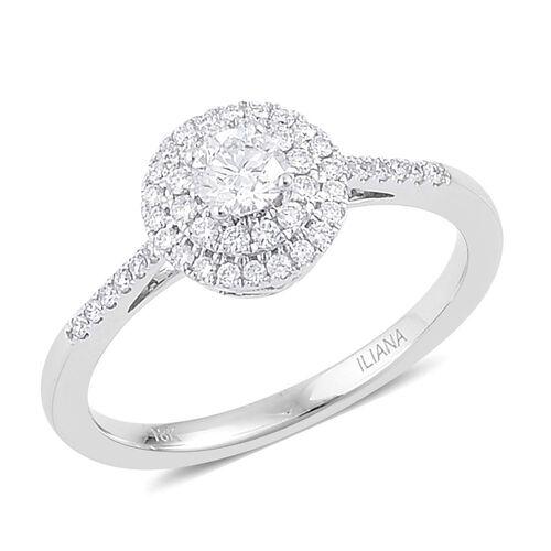 ILIANA 0.50 Carat Diamond IGI Certified (SI/G-H) Ring in 18K White Gold