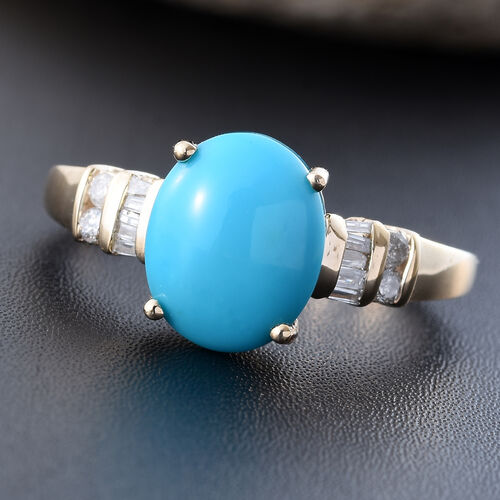 9K Y Gold AAA Arizona Sleeping Beauty Turquoise (Ovl 2.60 Ct), Diamond Ring 2.750 Ct.