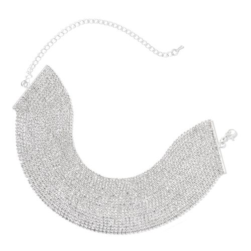 White Austrian Crystal Choker Necklace (Size 20 with Extender) in Silver Tone
