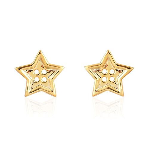 LucyQ Star Button Stud Earrings (with Push Back) in Yellow Gold Overlay Sterling Silver