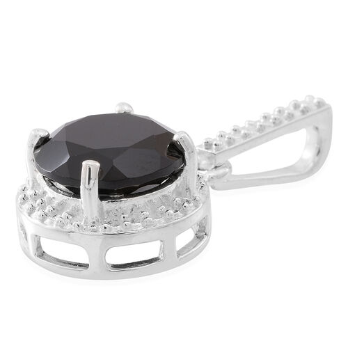 Boi Ploi Black Spinel (Rnd) Solitaire Pendant in Sterling Silver 4.500 Ct.