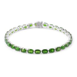 Exclusive Edition- AAA Russian Diopside (Ovl) Bracelet (Size 7.5) in Platinum Overlay Sterling Silver 15.500 Ct.