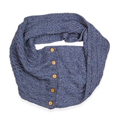 Carraig Donn 100% Merino Wool Knitted Infinity Celtic Scarf (160x40 Cm) - Blue