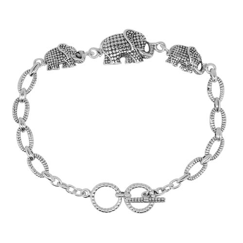 Royal Bali Collection Sterling Silver Elephant Bracelet (Size 8 with Extender), Silver wt 9.50 Gms.