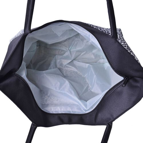 Black and White Colour Leopard Pattern Tote Bag (Size 52X38X32X15.5 Cm)
