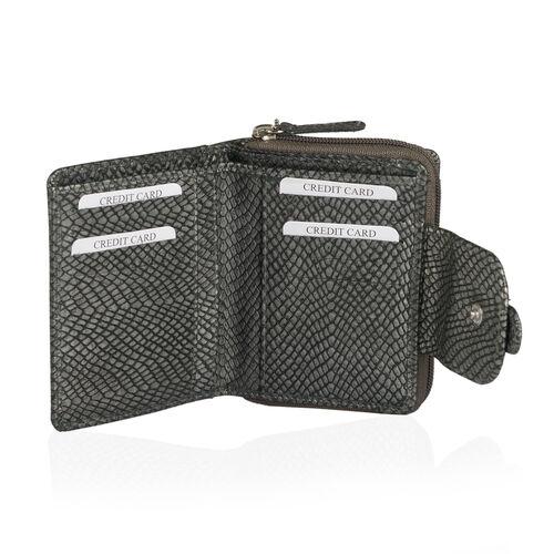 Genuine Leather Dark Grey Colour Snake Embossed RFID Blocker Ladies Wallet (Size 12x10x3.5 Cm)