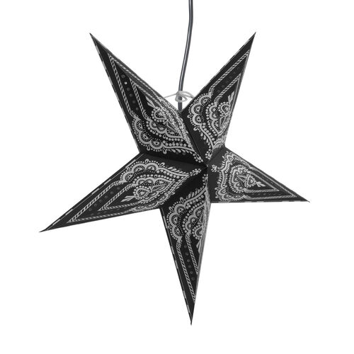 CHRISTMAS SPECIAL Home Decor - Black and White Colour Handmade Star with Electric Cable (Size 60 Cm)