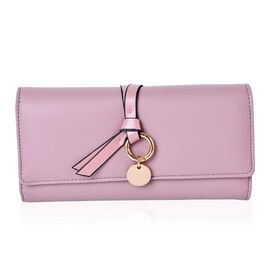 Soft Pink Trifold Knot Charm Purse with Multiple Card Slots (Size 19X9X3 Cm)