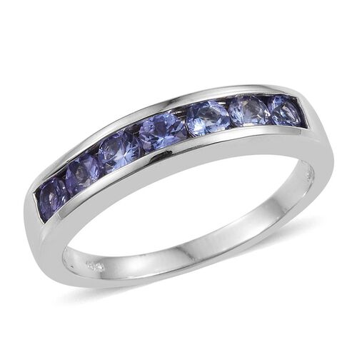 Tanzanite (Rnd) 7 Stone Half Eternity Band Ring in Platinum Overlay Sterling Silver 1.000 Ct.