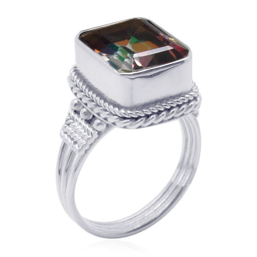 Royal Bali Collection Northern Lights Ecstacy Topaz (Oct) Solitaire Ring in Sterling Silver 7.400 Ct.