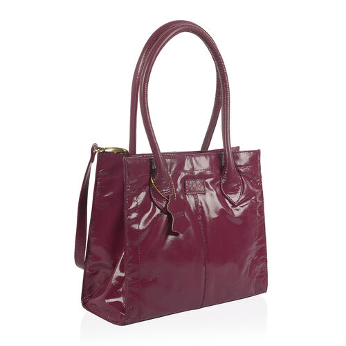 Premium Collection Genuine High Glossed Leather RFID Blocker Light Purple Large Tote Bag (Size 31.5X26X12 Cm)