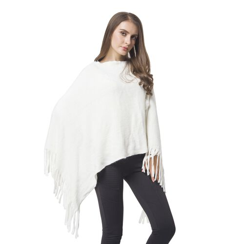 Designer Inspired - White Colour Pom Pom Embellished Poncho with Tassels (One Size)