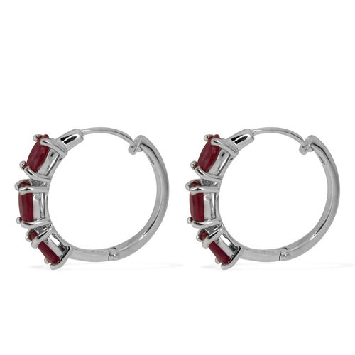 Burmese Ruby (Ovl) Hoop Earrings (with Clasp) in Rhodium Plated Sterling Silver 3.000 Ct.