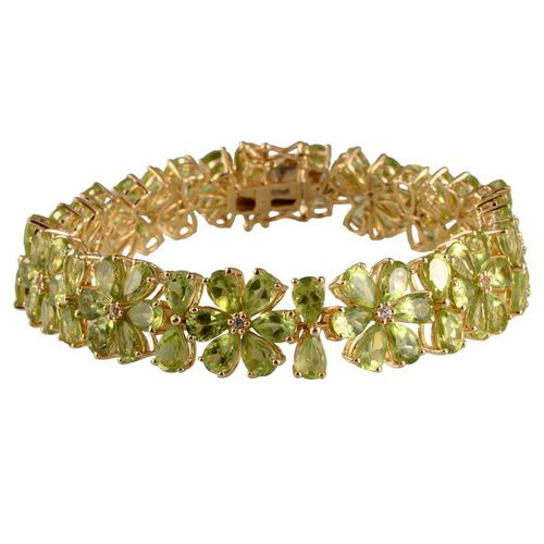 AA Hebei Peridot (Pear), White Topaz Bracelet (Size 7.5) in 14K Gold Overlay Sterling Silver 41.250 Ct.