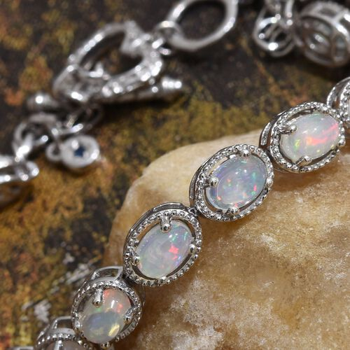 GP Ethiopian Welo Opal (Ovl), Kanchanaburi Blue Sapphire Bracelet (Size 7.5) in Platinum Overlay Sterling Silver 5.020 Ct.