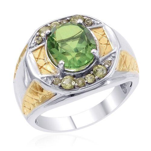 Designer Collection Peridot Triplet Quartz (Ovl 5.16 Ct), Hebei Peridot Ring in 14K YG and Platinum Overlay Sterling Silver 5.925 Ct.