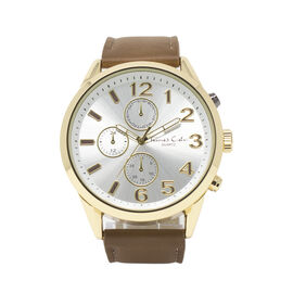 THOMAS CALVI - Chrono Dial Watch with Chocolate Strap in Gold Tone