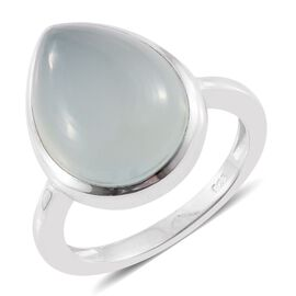 Aqua Chalcedony 8 Carat Silver Solitaire Ring in Platinum Overlay