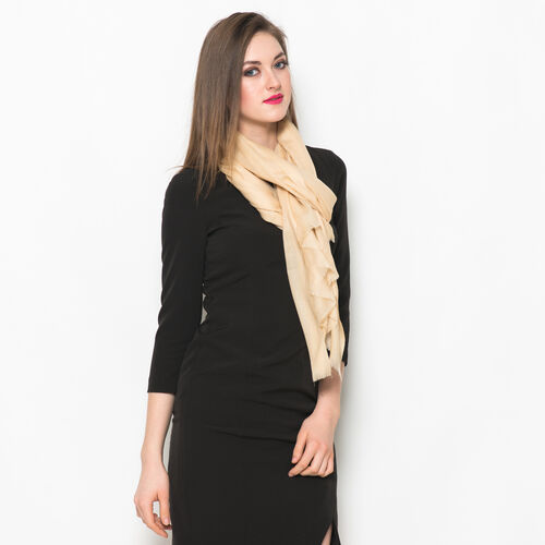 NEW FOR SEASON - 88% Merino Wool and 12% Silk Cream Colour Scarf (Size 200x70 Cm)