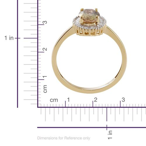 9K Yellow Gold 1.45 Ct AA Natural Yellow Tanzanite Halo Ring with Diamond