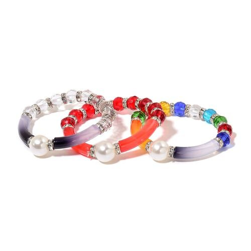 Set of 3 - Simulated Red, White and Multi Colour Diamond and White Austrian Crystal Stretchable Bracelet (Size 7.5) in Silver Tone