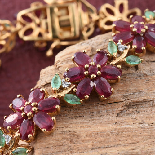 Limited Edition - AAA African Ruby (Ovl), AAA Kagem Zambian Emerald and Natural Cambodian Zircon Floral Bracelet (Size 7.5) in 14K Gold Overlay Sterling Silver 28.250 Ct.