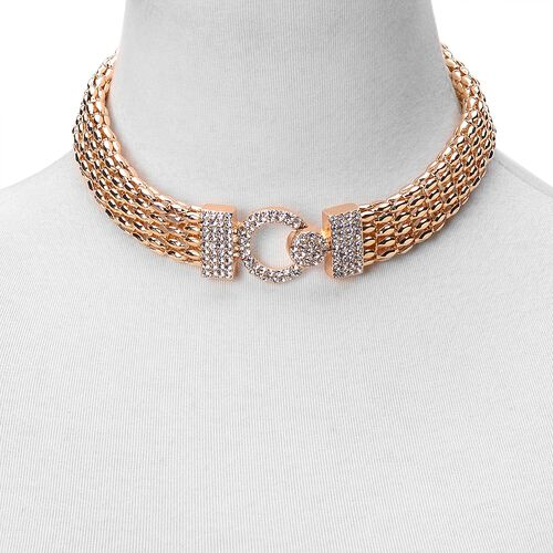 Designer Inspired White Austrian Crystal Necklace (Size 16) in Yellow Gold Tone