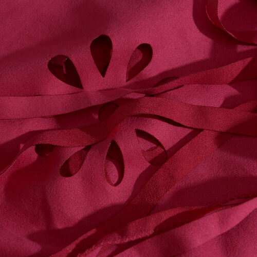 Laser Cut Pattern Pink Colour Scarf with Fringes (Size 120x70 Cm)