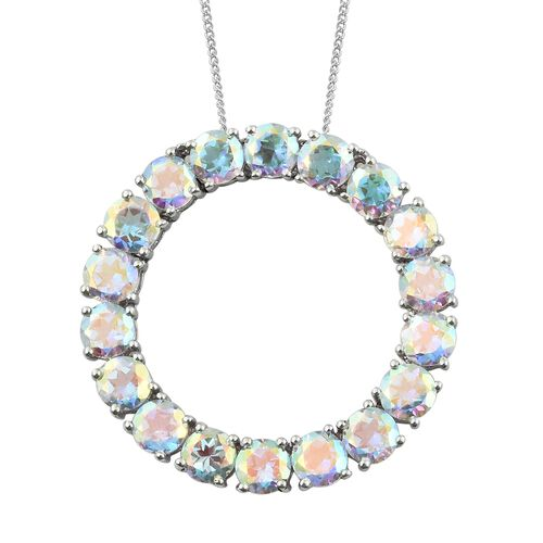 Mercury Mystic Topaz (Rnd) Circle of Life Pendant with Chain in Platinum Overlay Sterling Silver 10.000 Ct. Silver wt 5.20 Gms.