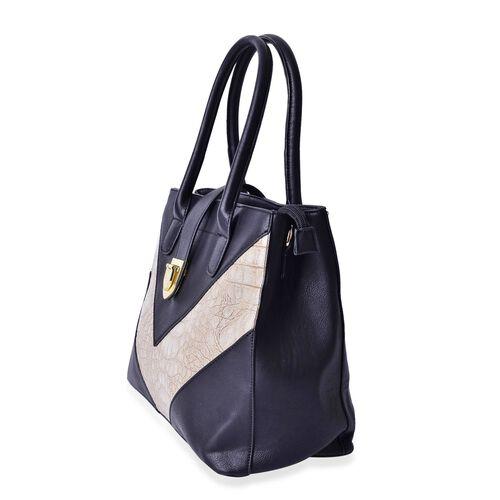 Karlie Classic Black Colour V - Pattern Tote Bag with External Zipper Pocket (Size 35x25.5x15 Cm)