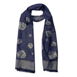 Navy Blue and Golden Colour Rose Pattern Scarf (Size 180x75 Cm)