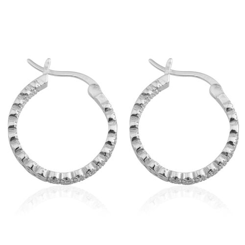 Brilliant Cut ELANZA AAA Simulated Diamond (Rnd) Hoop Earrings (with Clasp Lock) in Rhodium Plated Sterling Silver, Silver wt 4.50 Gms.