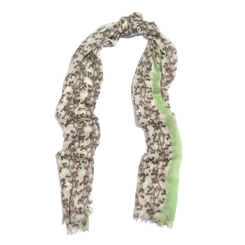 100% Merino Wool Chocolate, White and Multi Colour Floral Printed Scarf with Fringes (Size 170X70 Cm)
