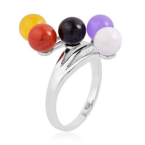 Multi Colour Jade Crossover Ring in Rhodium Plated Sterling Silver 9.750 Ct.